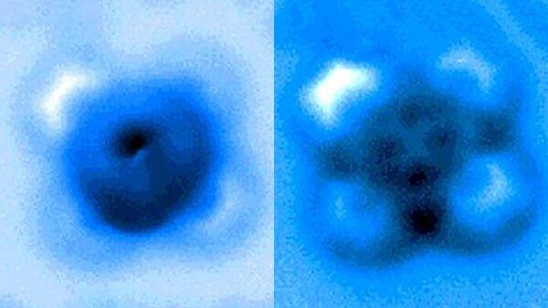 Изображения, полученных с помощью сканирующего зондового микроскопа, до и после разрыва связи между монооксидом углерода и фталоцианином железа