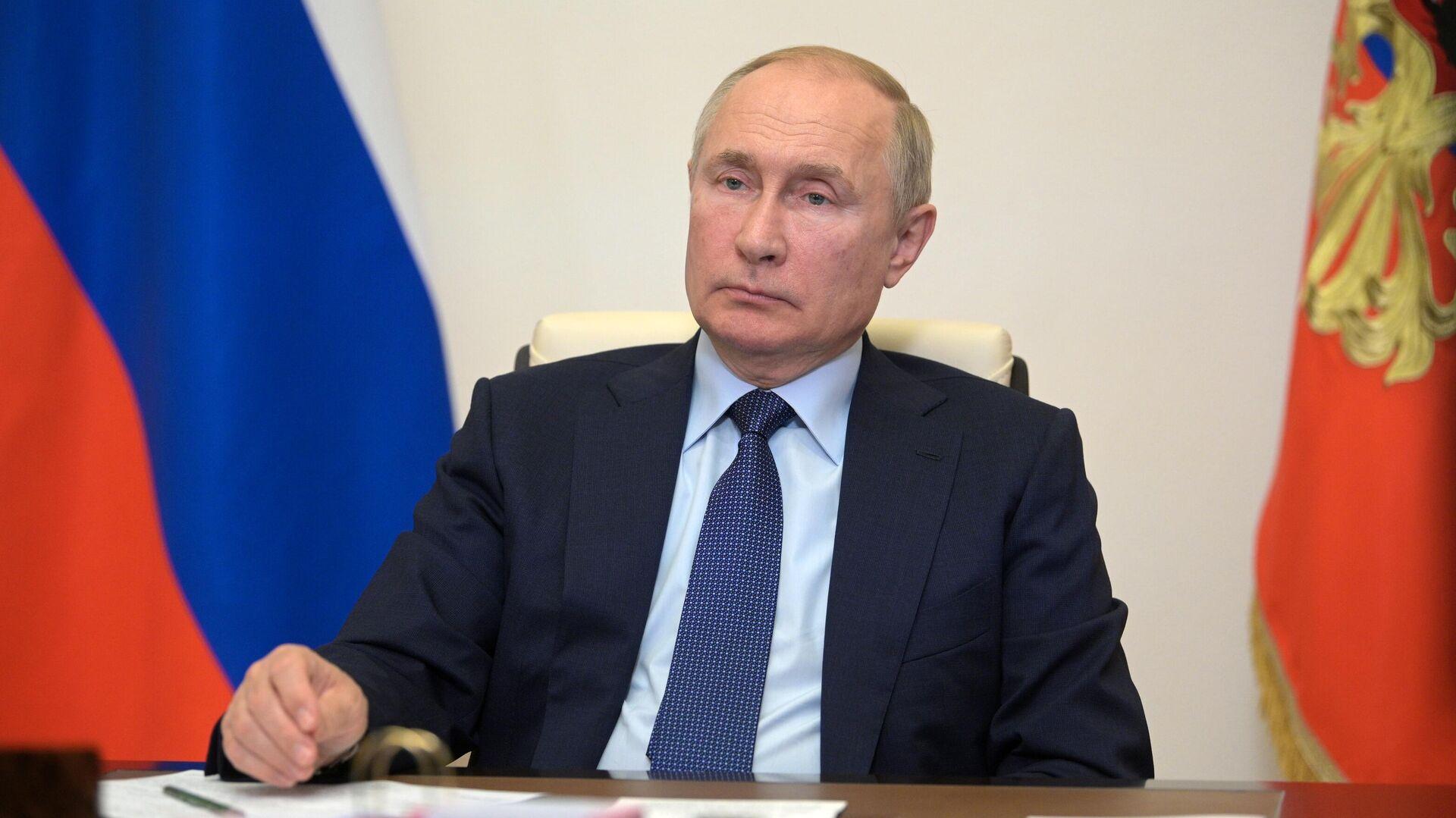 Президент РФ Владимир Путин проводит в режиме видеоконференции совещание с членами правительства РФ - РИА Новости, 1920, 14.10.2021