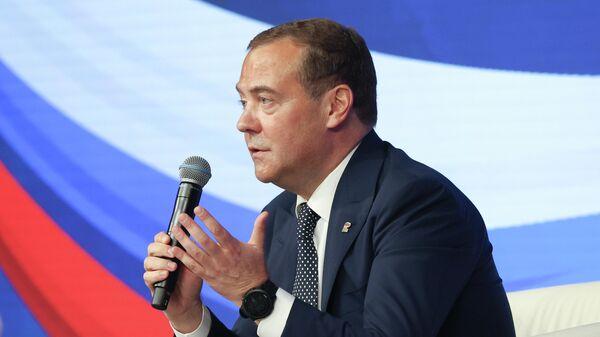 Председатель Единой России, заместитель председателя Совета безопасности РФ Дмитрий Медведев проводит совместное заседание бюро высшего и генерального советов партии