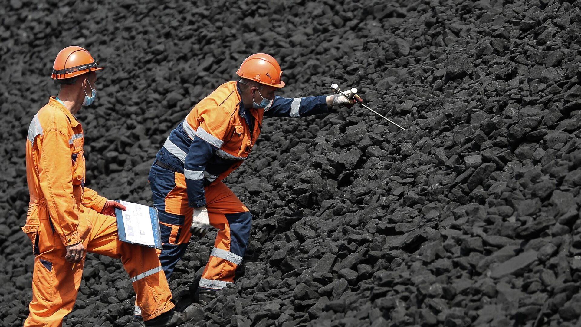 Рабочие производят замеры температуры угля на складе Таманского терминала навалочных грузов - РИА Новости, 1920, 07.10.2021