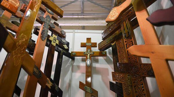 Кресты на Международной выставке погребальных принадлежностей, похоронного сервиса и мемориального искусства НЕКРОПОЛЬ-2020