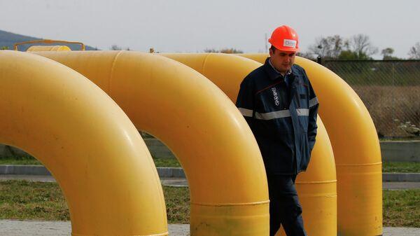 Сотрудник на газовой станции в районе Берегово, Украина