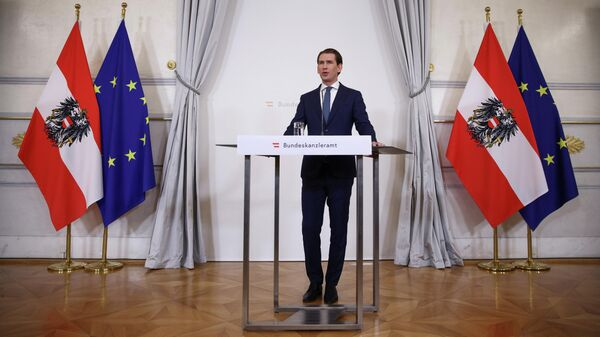 Канцлер Австрии Себастьян Курц во время выступления в Вене