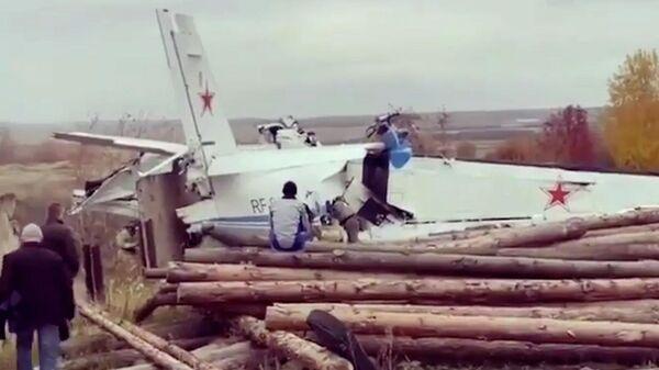Aufnahmen von der Absturzstelle eines Flugzeugs mit Fallschirmspringern in Tatarstan