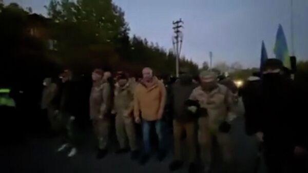 Кадры акции протеста у дома Порошенко под Киевом