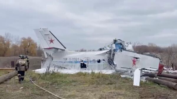 Спасательная операция на месте крушения самолета с парашютистами в Татарстане. Кадр из видео