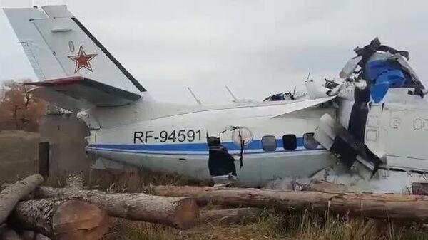 Легкомоторный самолет L-410, разбившийся в нескольких километрах от Мензелинска в Татарстане (скриншот видео)