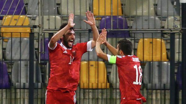 Георгий Джикия празднует гол в матче Словения - Россия, отбор ЧМ-2022