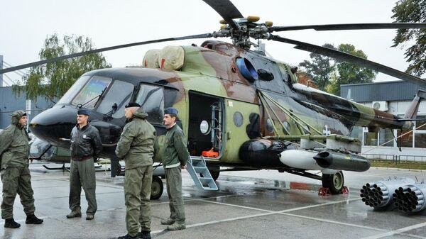 Многоцелевой вертолет Ми-17 на международной выставке вооружения и военной техники PARTNER-2021 в Белграде