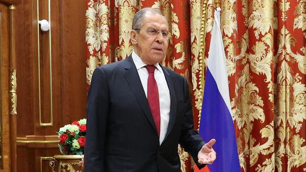 Министр иностранных дел РФ Сергей Лавров во время визита в Нур-Султан