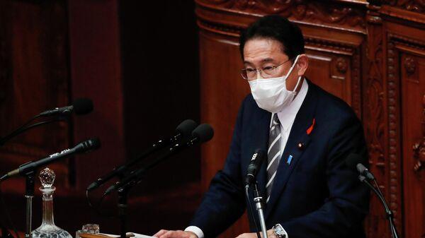 Премьер-министр Японии Фумио Кисида во время выступления в парламенте в Токио, Япония. 8 октября 2021