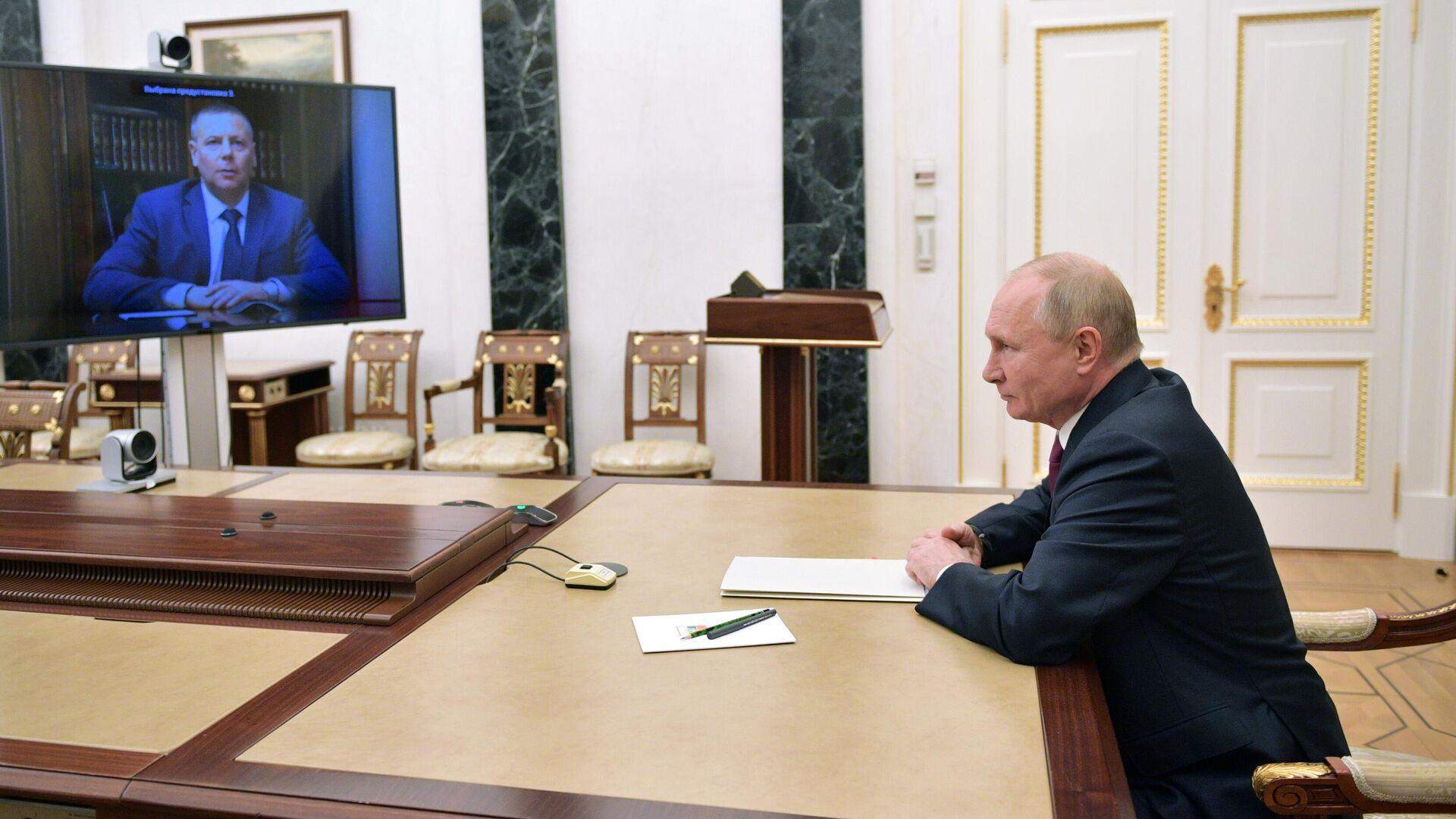 Президент РФ Владимир Путин на встрече в режиме видеоконференции с Михаилом Евраевым - РИА Новости, 1920, 12.10.2021