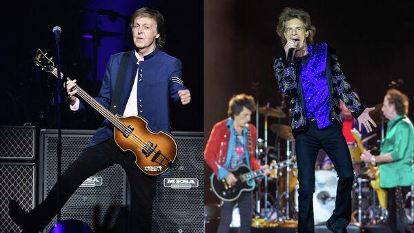 Пол Маккартни и участники группы The Rolling Stones
