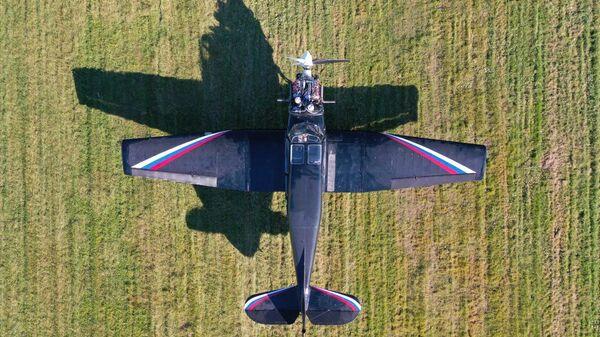 Самолет Як-18Т с авиационным двигателем АПД-500, созданным на основе двигателя от автомобилей серии Aurus