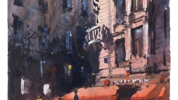 Картина Сергея Кузнецова Кафе с летней верандой у метро Маяковская