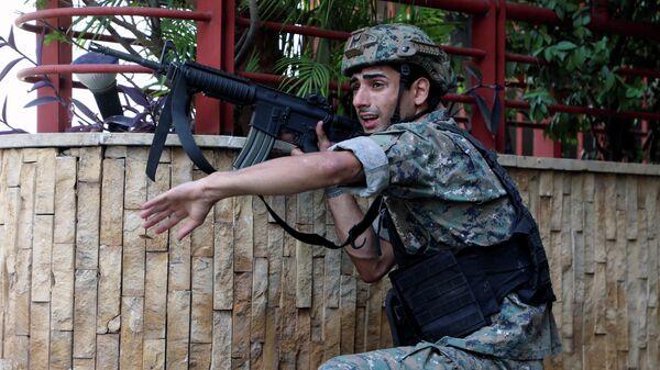 Военнослужащий на месте демонстрации в Бейруте, Ливан
