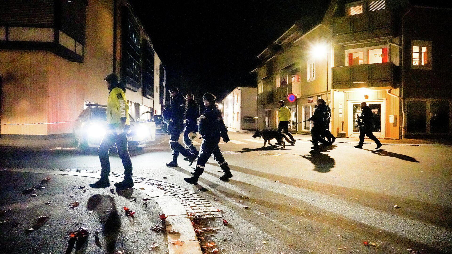 Сотрудники полиции на месте атаки злоумышленника с луком и стрелами в норвежском Конгсберге - РИА Новости, 1920, 14.10.2021
