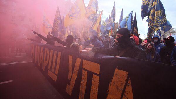 Марш националистов в Киеве в честь годовщины создания Украинской повстанческой армии (деятельность организации запрещена в России) и Дня защитника Украины