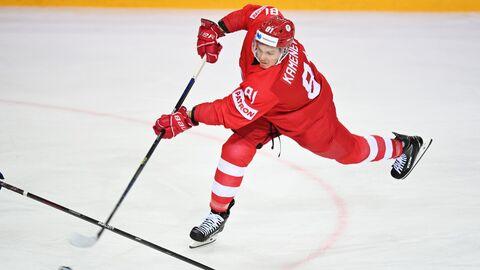 Владислав Каменев (Россия) в матче группового этапа чемпионата мира по хоккею 2021 между сборными командами России и Швеции.