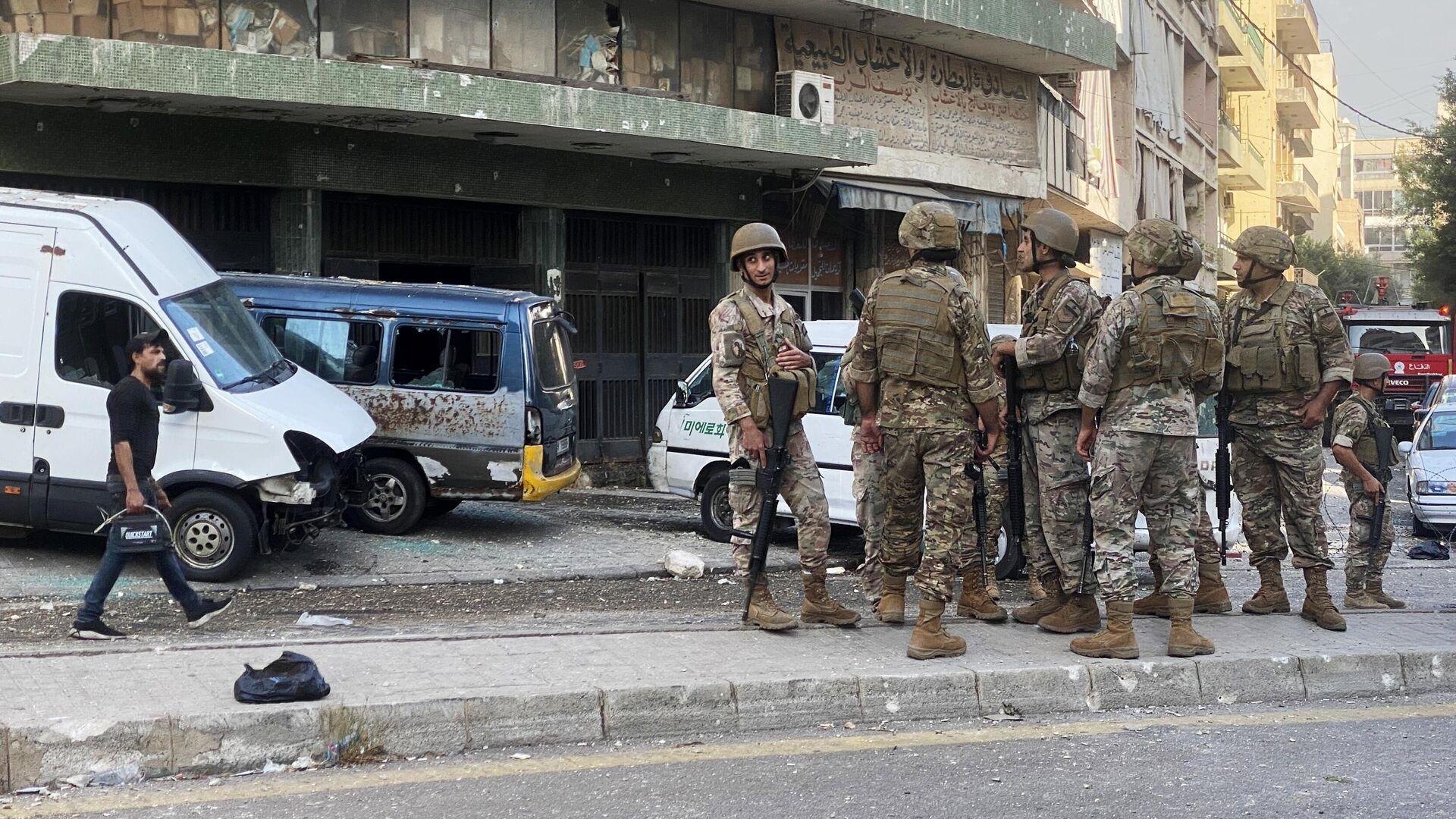 Военнослужащие Ливанской армии на одной из улиц Бейрута - РИА Новости, 1920, 14.10.2021