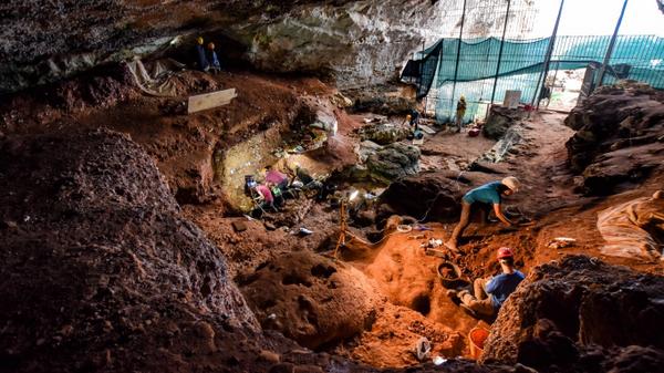 Раскопки в пещере Романелли в Италии