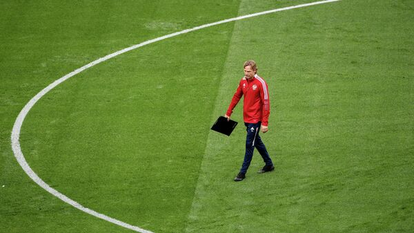 Главный тренер сборной России Валерий Карпин на тренировке перед матчем отборочного этапа чемпионата мира по футболу 2022 против сборной Хорватии.