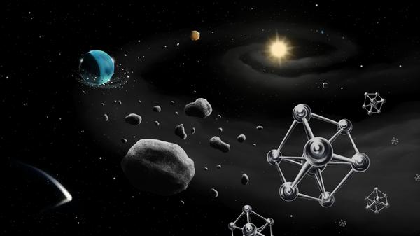 Представление художника о формировании вокруг звезды планет из строительных блоков, представленных космической пылью и молекулами железа