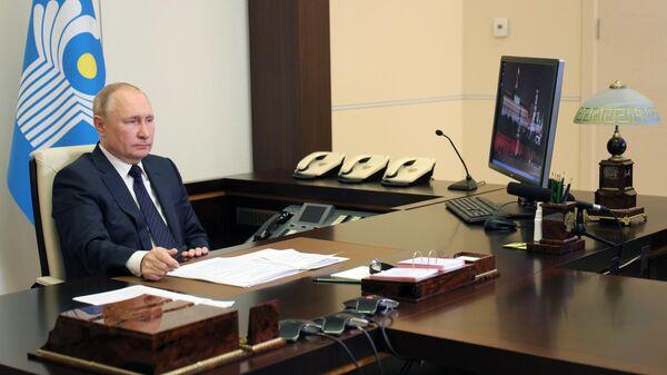 Президент РФ Владимир Путин в режиме видеоконференции принимает участие в заседании Совета глав государств - участников СНГ
