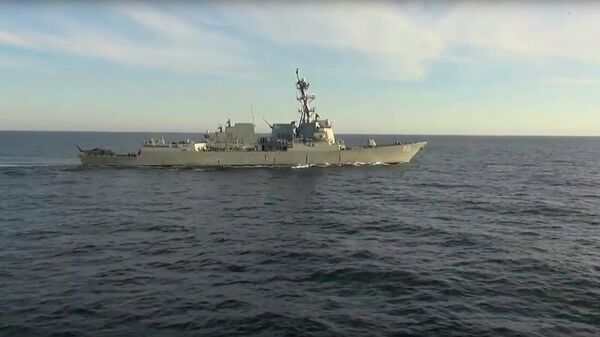 Эсминец USS Chafee в Японском море. Кадр видео