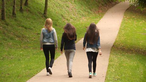 Девушки на прогулке в парке