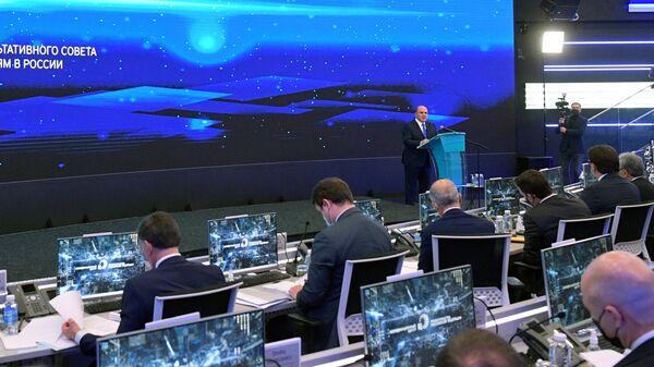 Председатель правительства РФ Михаил Мишустин выступает на 35-м заседании Консультативного совета по иностранным инвестициям в России