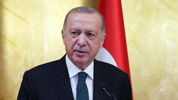 Президент Турции Реджеп Тайип Эрдоган во время выступления в парламенте Анголы