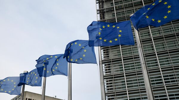 Флаги Евросоюза возле здания штаб-квартиры Европейского парламента в Брюсселе