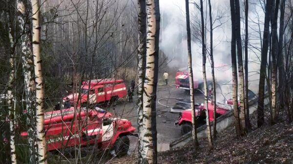 Сотрудники МЧС РФ на месте взрыва на пороховом заводе в Рязанской области. Скриншот видео