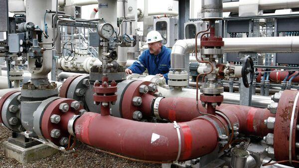 Рабочий на газовом хранилище в Редене, Германия