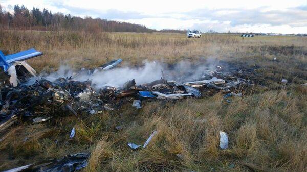 Обломки самолета, потерпевшего крушение в городском округе Руза