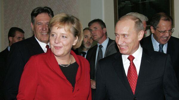 Ангела Меркель и президент России Владимир Путин в Томске, 2006 год
