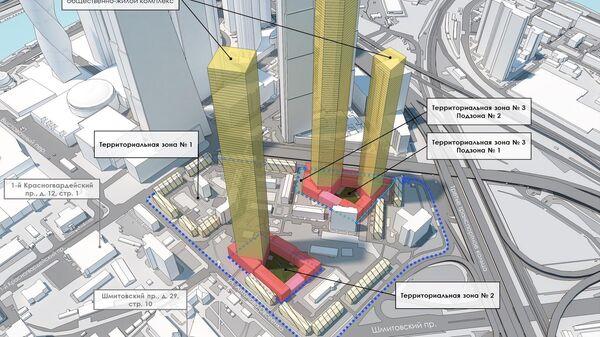 Проект застройки земельного участка в микрорайоне Камушки у Москва-Сити