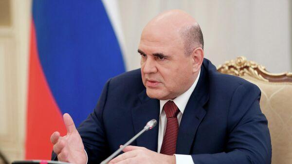 Председатель правительства РФ Михаил Мишустин во время встречи с руководством Государственной Думы РФ.