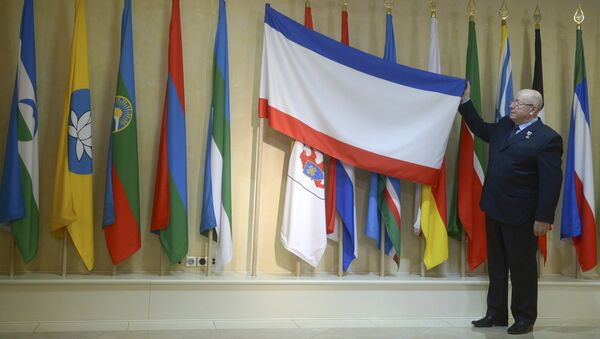Церемония установки флагов Крыма и Севастополя в Совете Федерации РФ