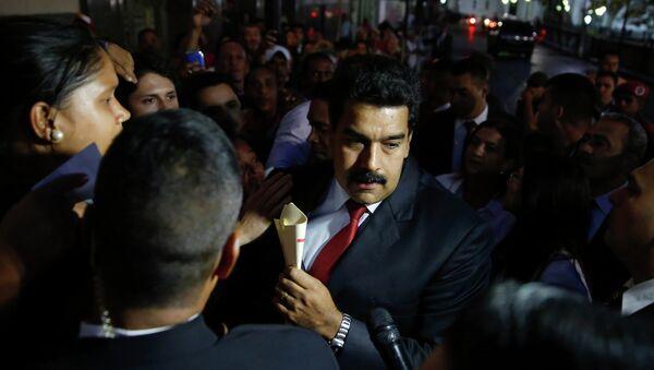 Президент Венесуэлы Николас Мадуро после встречи с представителями оппозиции в Каракасе