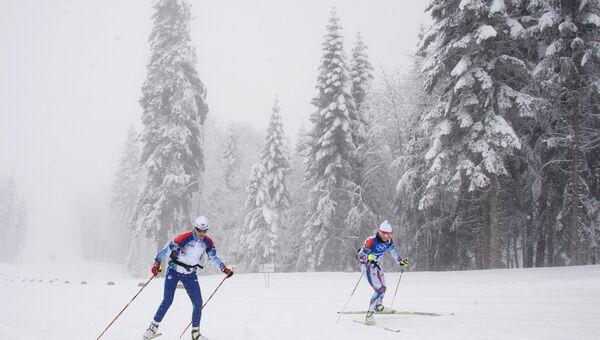 Лыжницы на тренировке. Архивное фото