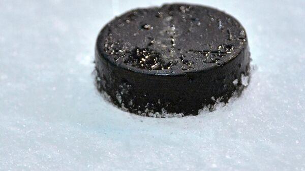 Хоккейная шайба на ледовой арене. Архивное фото