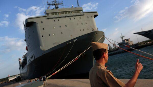 Судно ВМС США Кейп Рей, предназначенное для уничтожения сирийского химоружия