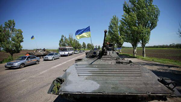 Украинская бронетехника близ Мариуполя, 11 мая 2014