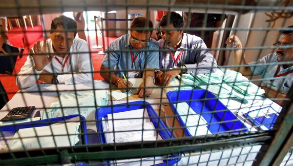 Подсчет голосов на выборах в Индии