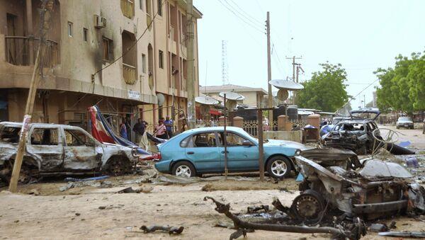 На месте взрыва в городев Нигерии, архивное фото