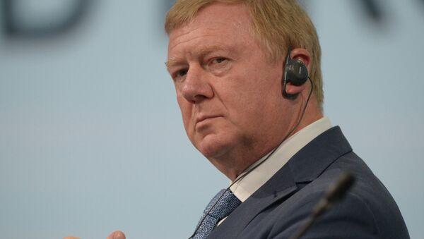 Председатель правления ООО УК РОСНАНО Анатолий Чубайс на ПМЭФ-2014