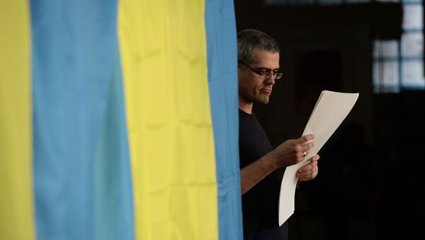 Избиратель во время голосования на украинских выборах, архивное фото