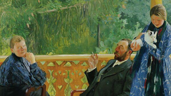 Портрет семьи Поленова работы Кустодиева. 1905